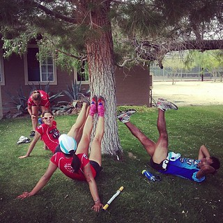 Team Ultra University takes a stretch break in Borrego Springs #bwss | by Chris Kostman of AdventureCORPS / Badwater