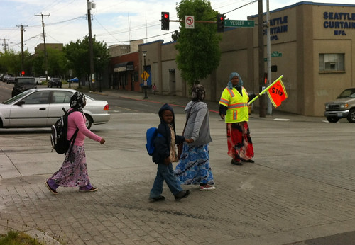 Awesome crossing guard at 12th & Yesler | by clintloper