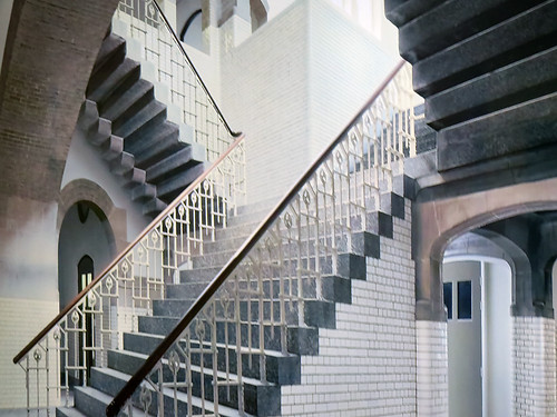 The stairs in Escher's old school inspired many of his works. This large mural is at the Escher Museum in Den Haag