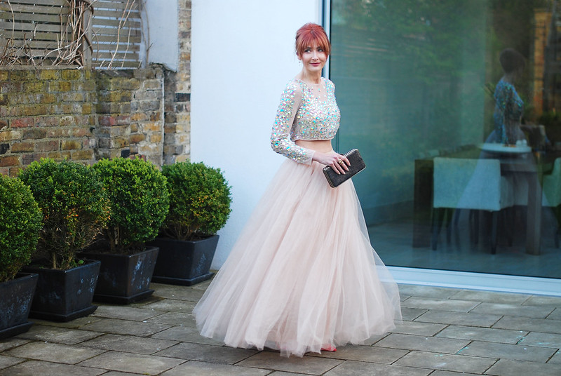 e57fcee117d06 Dressed Like a Fairy Princess in a Sparkly Crop Top and Maxi Tulle ...