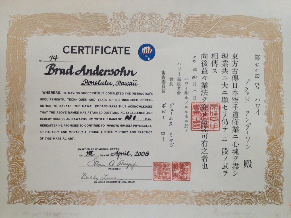 My Okkkf Ni Dan Certificate Brad Andersohn Flickr