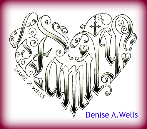 Word Family Made Into A Heart Shaped Tattoo Design By Deni border=