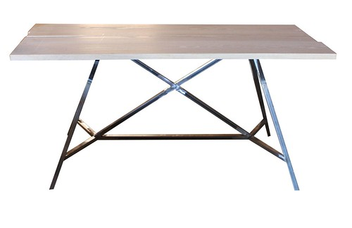 Reclaimed Metal And Wood Contemporary Desk Mortise Tenon