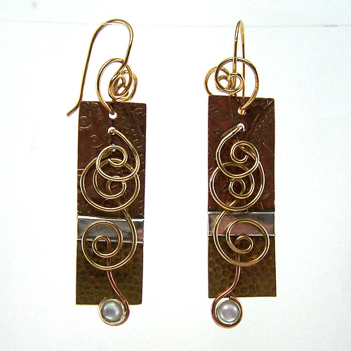 Etched, Soldered, and Wirework Earring | by AutEvDesigns