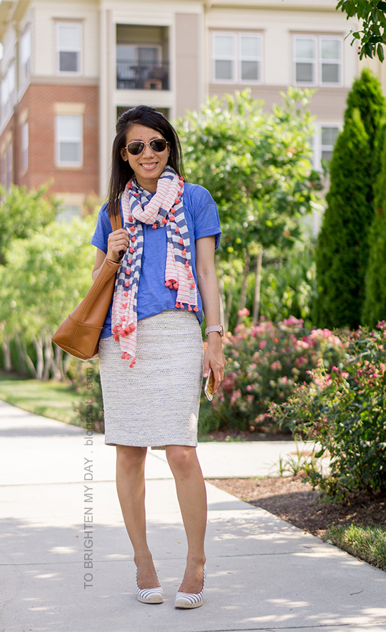 striped and pom pom scarf, cornflower blue t-shirt, tweed pencil skirt, oversized watch, striped espadrille wedges