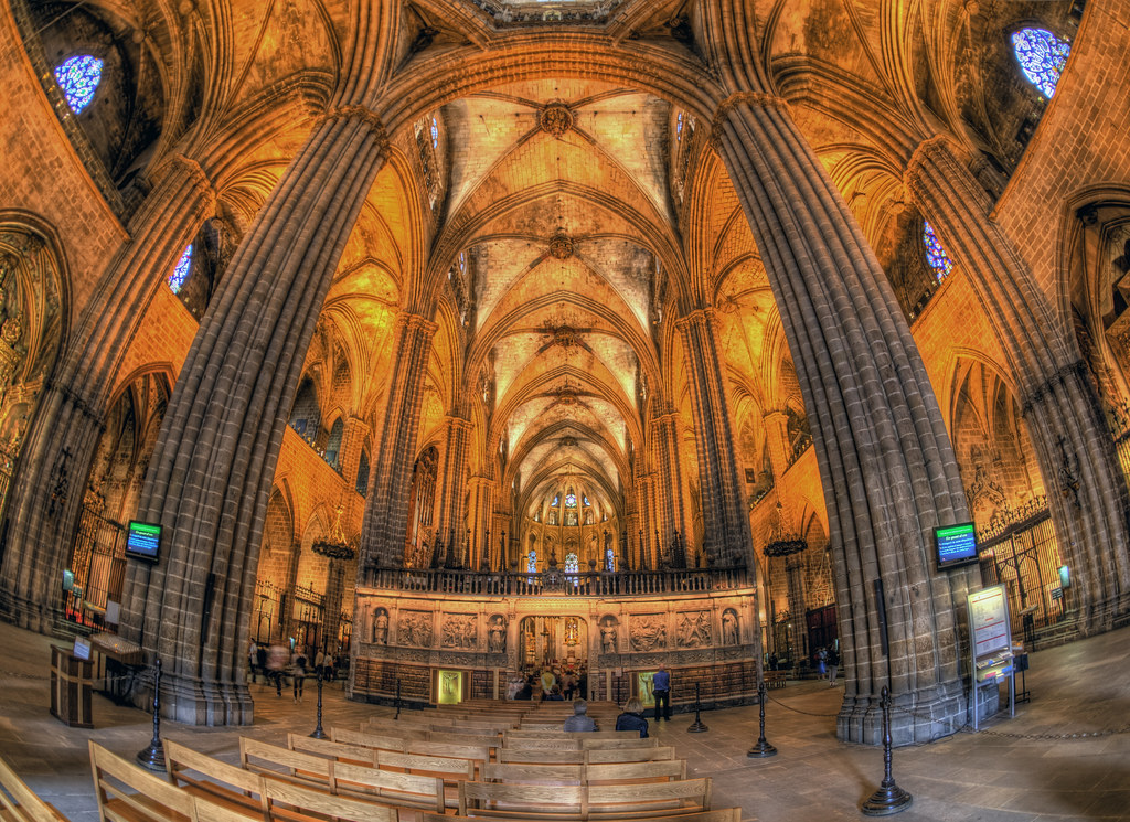 Inside The Gothic Cathedral In Barcelona
