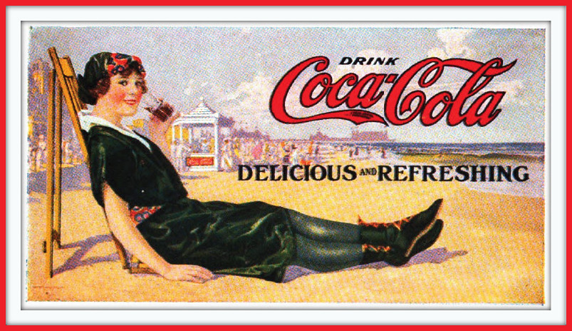 1917 Ca Streetcar Advertising Coca Cola Girl At The Beach