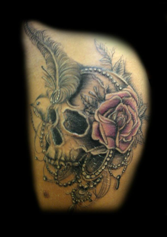 Skull Rose And Feather Tattoo By Ray Tutty Tattoo Studio Flickr