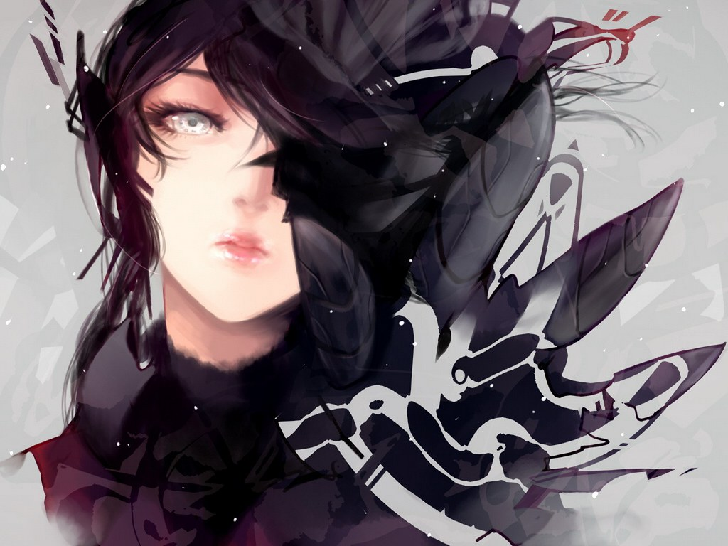 Women lips long hair shattered gray eyes anime
