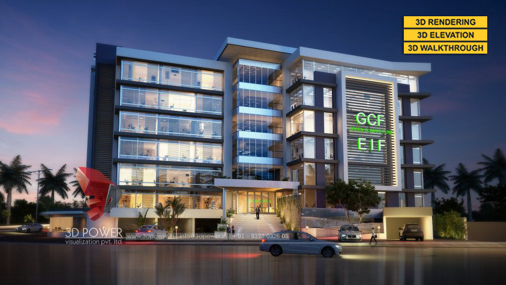 ... US 3d Architectural Building Exterior Night View Design | By  Architectural Rendering India