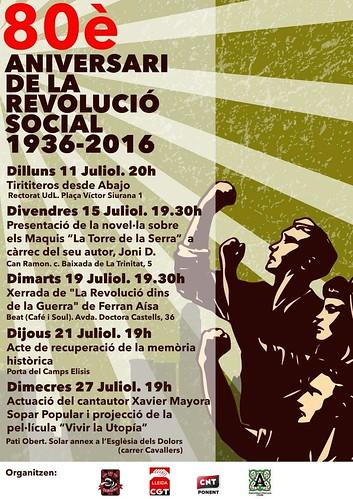 Actes a Lleida 80è aniversari de la Revolució Social 1936-2016