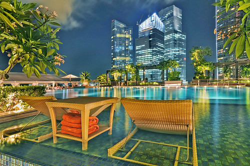 Relax by the Fullerton Bay poolside and enjoy the view of Marina Bay Singapore | by williamcho