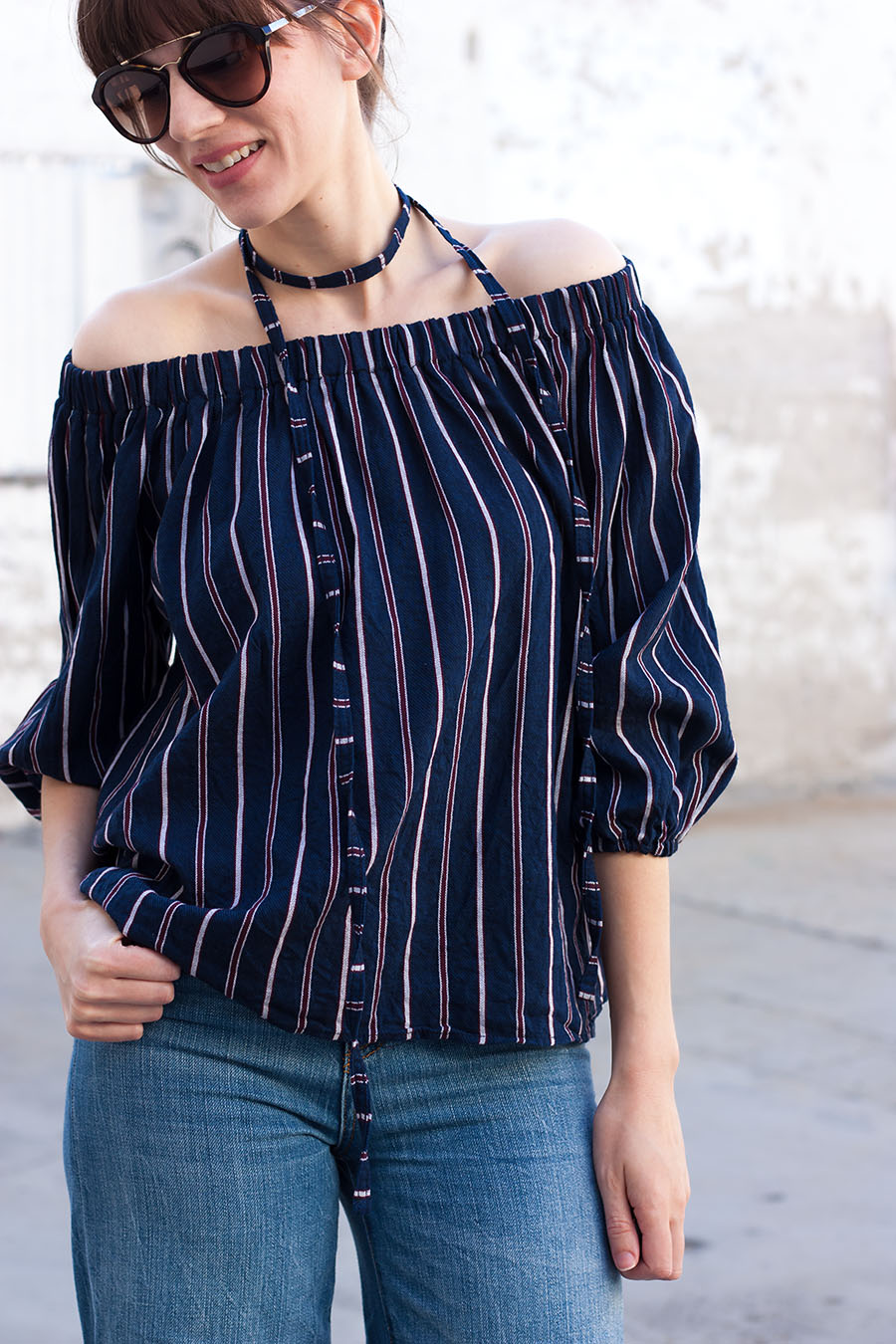 Prada Sunglasses, 70's inspired outfit, Off The Shoulder Top
