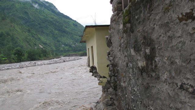 A house uspended over the raging Gori river.