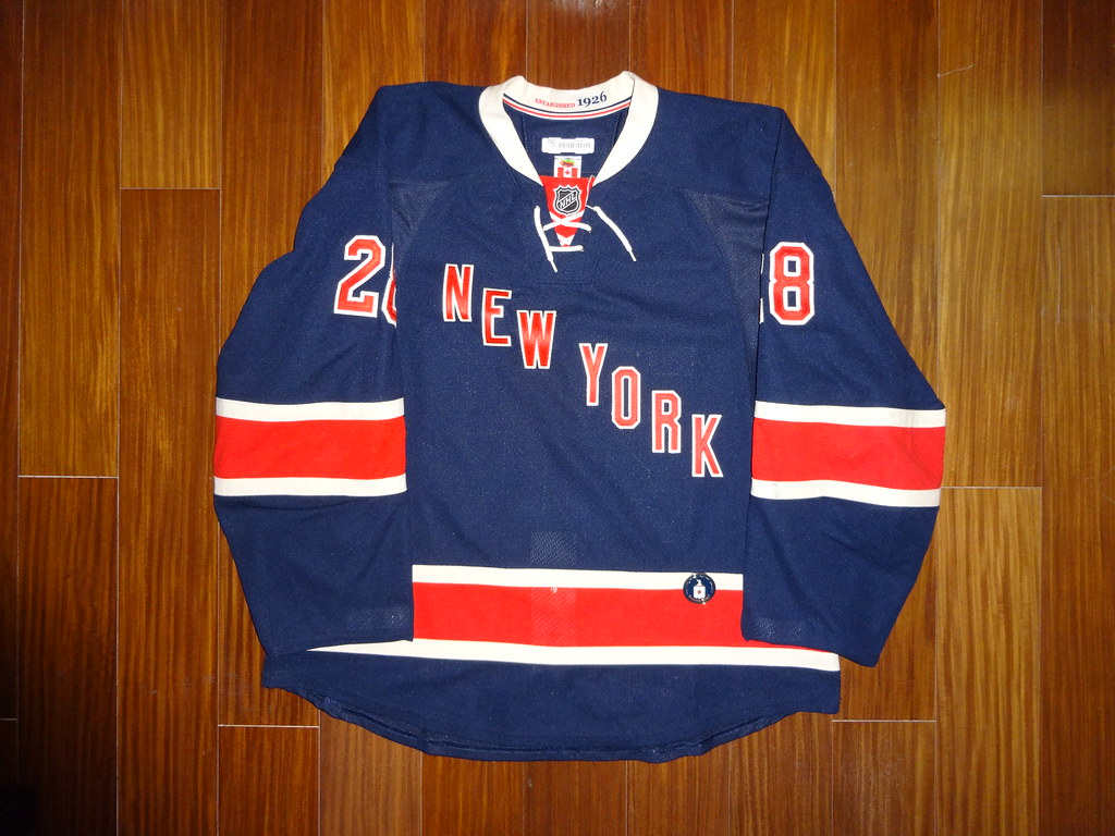 ... Game Worn Reebok Edge 2.0 Dominic Moore New York Rangers 2013-2014  Heritage Jersey Front 4c3831413
