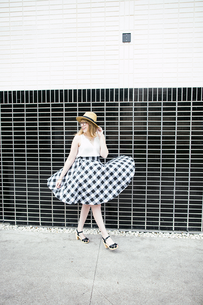 ModCloth Raising the Bar-becue Skirt and Swedish Hasbeens Suzanne Sandals