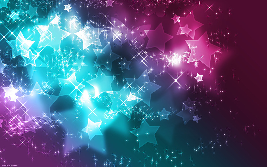 Neon Stars Blue Pink Wallpaper