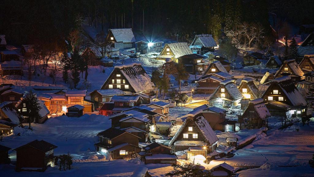 A Snowy Night In Shirakawa Go Japan