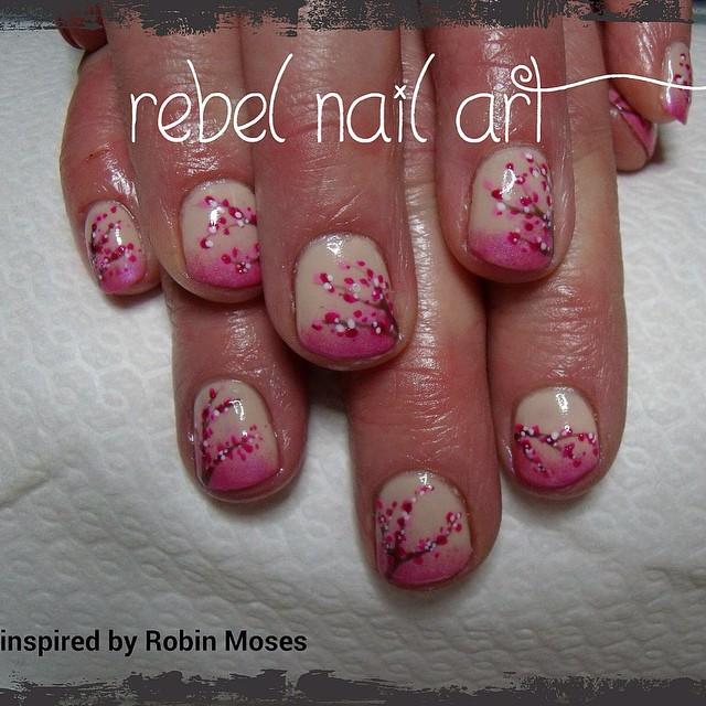 Gelish On Natural Nails Cherry Blossom Nail Art Inspired Flickr