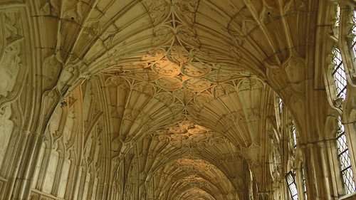 Vaulted ceiling of the Gloucester Cathedral in England
