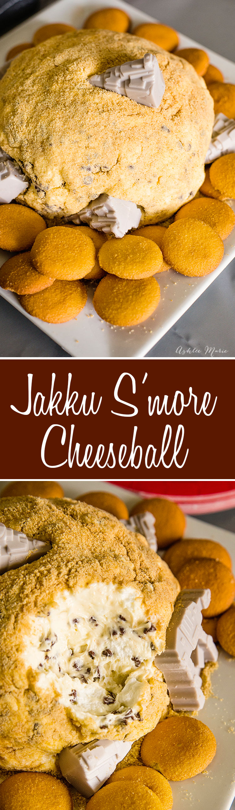 this easy to make and sweet s'more cheese ball represents the planet Jakku from The force awakens