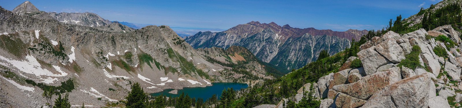 White Pine Lake and Little Cottonwood Canyon from the ridge between Red and White Baldy