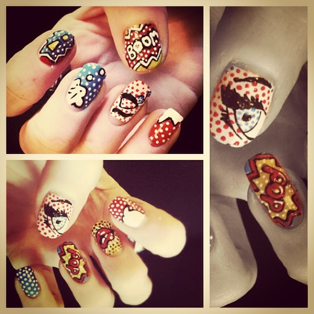 Pop Art Nails Nailart Freehand Popart Bold Pop Boom Flickr