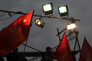 Red flags at night - Greek Communist Party meeting in city of Thessaloniki | by Teacher Dude's BBQ