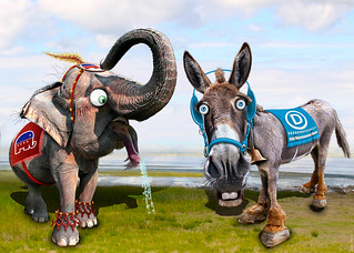 Democratic Donkey & Republican Elephant - Caricatures | by DonkeyHotey