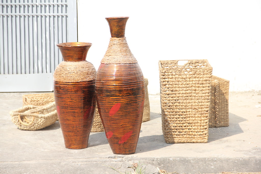 Vietnam Spun Bamboo Floor Vases With Water Hycinth Flickr