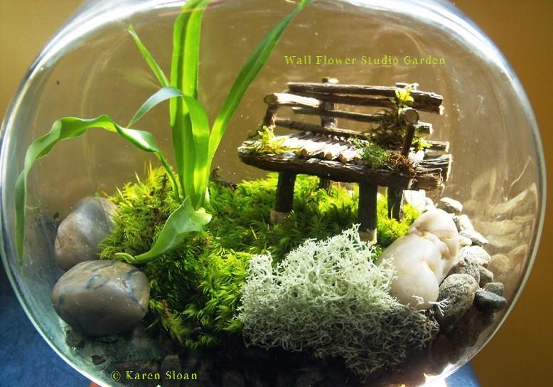 ... Fairy Garden Terrarium With Twig Bench   By Karen @ Wall Flower Studio