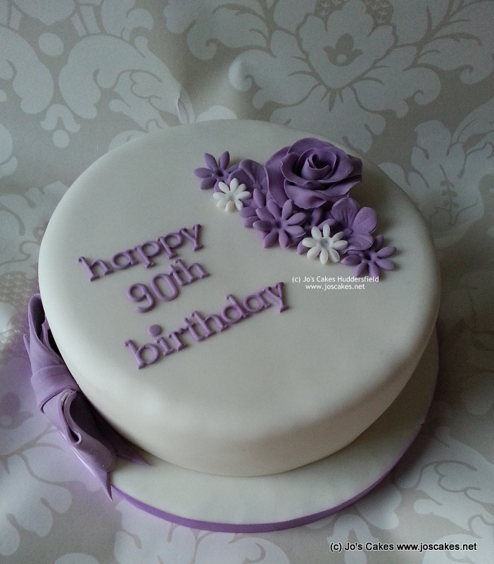 Purple Simple 90th Birthday Cake My Brief Was Floral And P Flickr