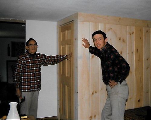 Elmer and Paul building the pine paneled closet for the front coat closet, and lined in cedar.