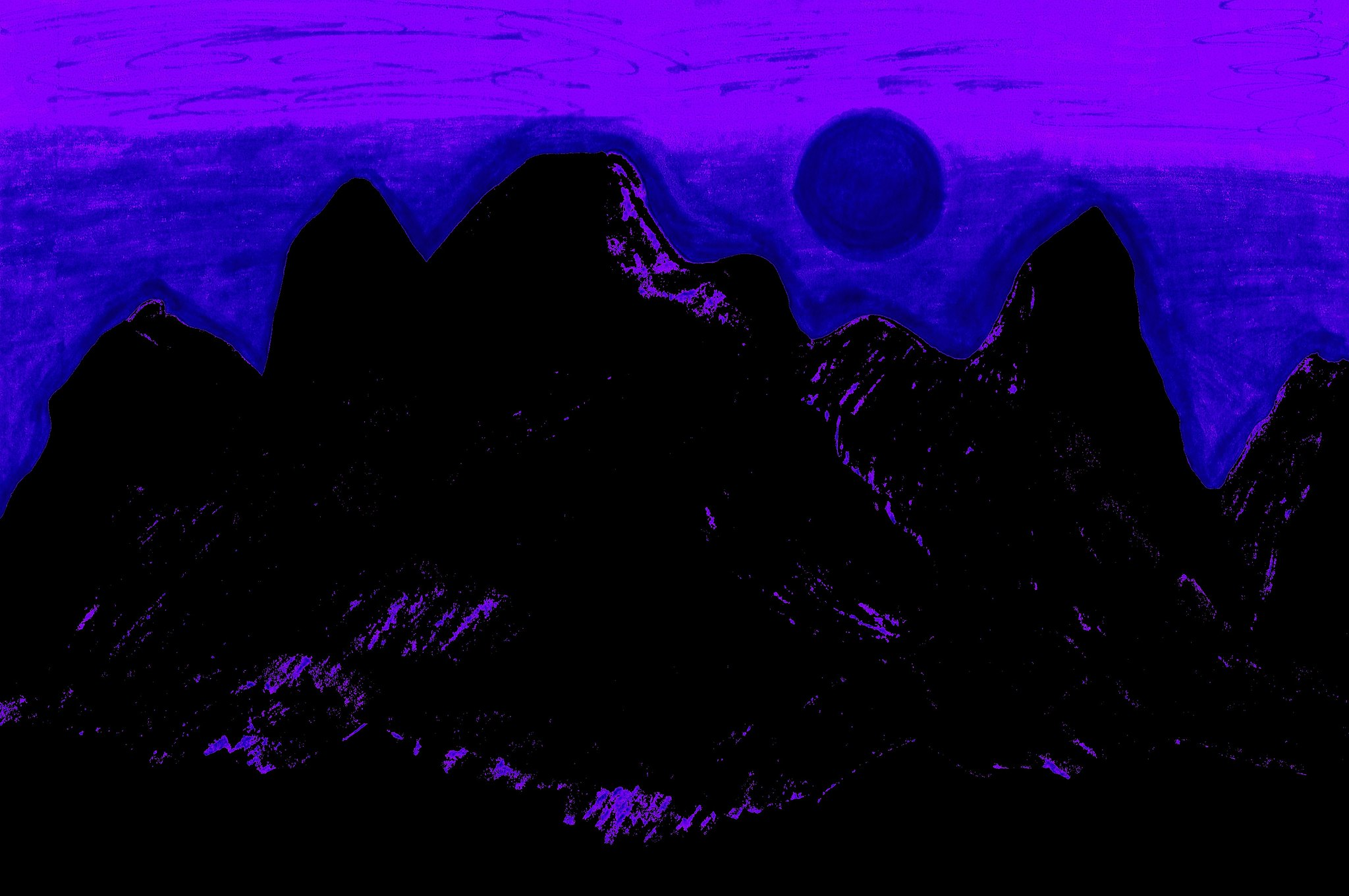 Moon Glow Over The Cascades In Purple 1  By Sherrie D. Larch