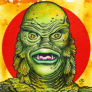 The Creature from the Black Lagoon   Acrylics & inks on ...