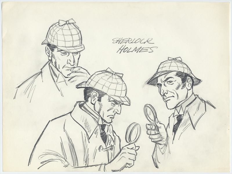 Original SHERLOCK HOLMES Character Model Drawings By PRESTON BLAIR For Proposed Film 1960s 70s