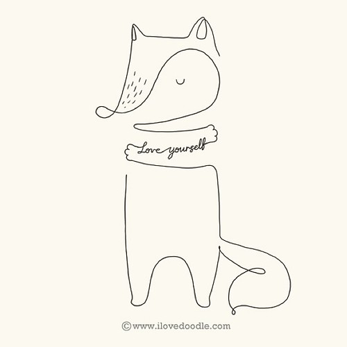 Line Drawing In C : Love yourself fox by hengswee ilovedoodle artseries il