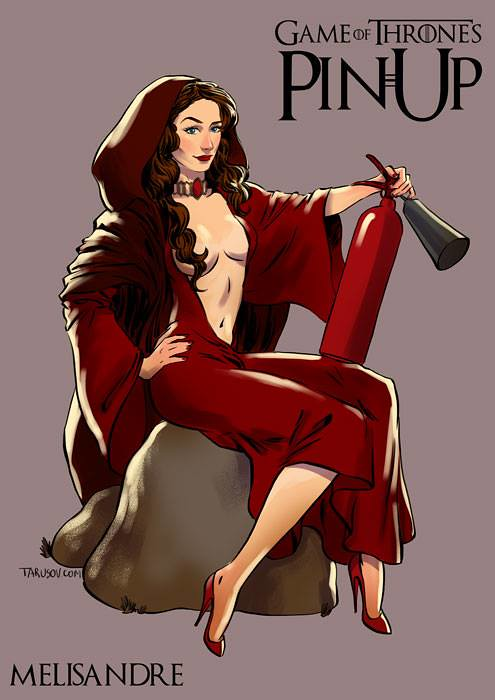 Risqué Game of Thrones pin-up girls by Andrew Tarusov - Melisandre
