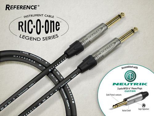 "Reference Laboratory Instrument Cable RIC01 'LEGEND SERIES' | Assembled with exclusive custom Neutrik 1/4"" Phone Plugs 