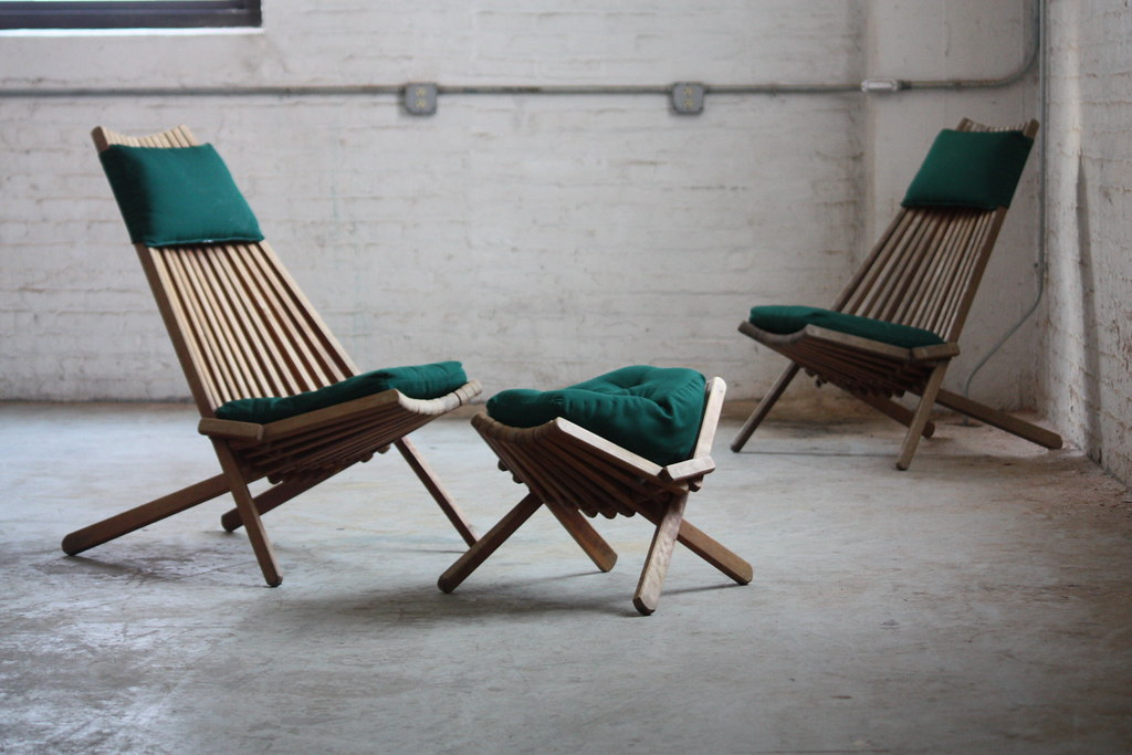 ... DECK*** Interesting Vintage Danish Modern Teak Folding Slat Chairs