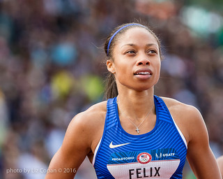 Allyson Felix places second in heat three of the Women's 200 meter semi-finals on Saturday July 9, 2016 at the US Olympic Trials at Hayward Field in Eugene, Ore. (photo/Liz Copan) | by studiocopan