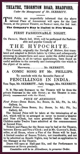 3rd March 1843 - Advert for Theatre, Thornton Road, Bradford | by Bradford Timeline
