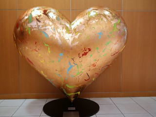 Hearts in San Francisco statue in lobby of Intel Robert Noyce Building | by IntelFreePress