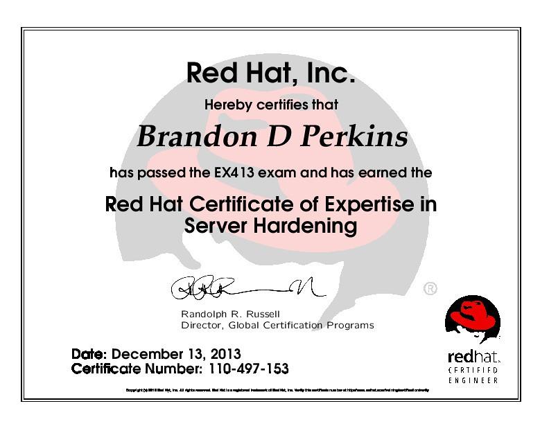 Red Hat Certificate Of Expertise In Server Hardening Flickr
