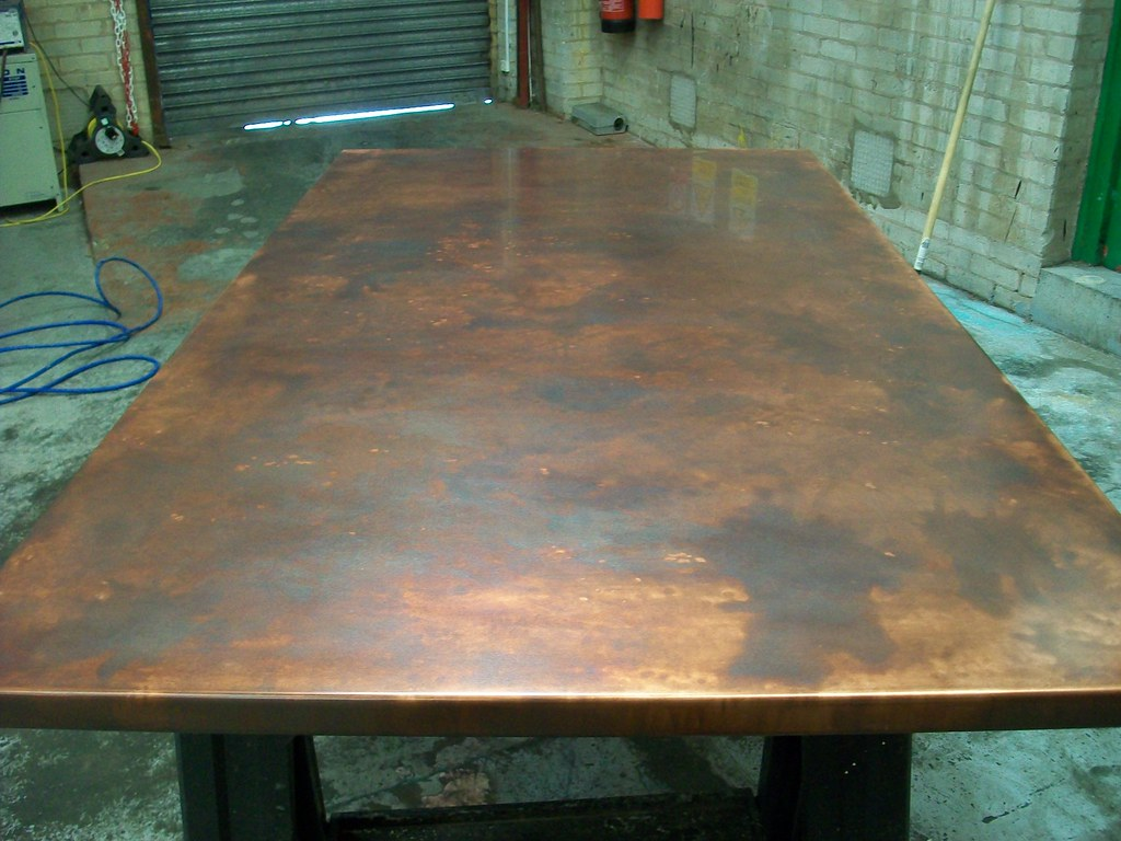 ... 17   Bronze Aged Copper Table Top Variation Of Patina Finish 160cm X  90cm | By