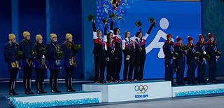 Sochi Ru.Feb22-2014.Winter Olympic Games.Medal Prest.(L-R)Bronze Team GBR,Gold Team Canada,Silver Team Sweden.WCF/michael burns photo | by seasonofchampions