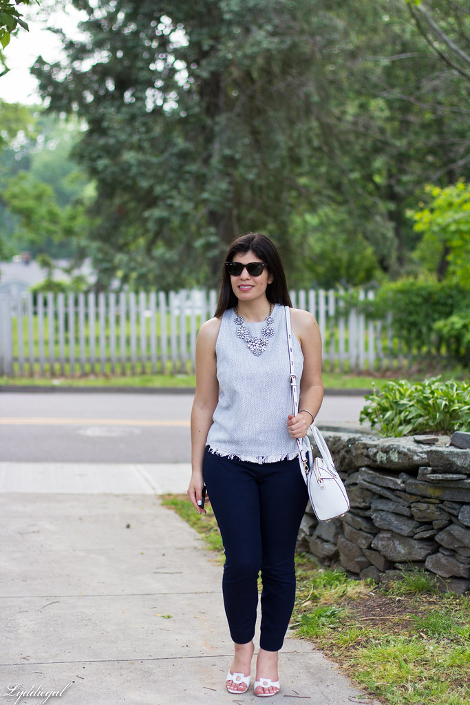 woven top, navy pants, statement necklace-2.jpg