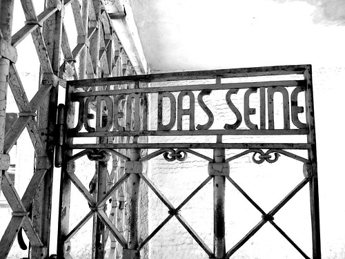 main entrance gate to concentration camp at Buchenwald ...