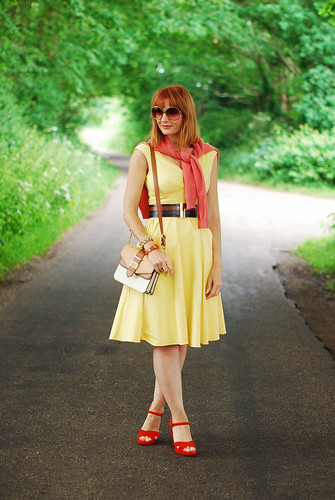 Summer style: Yellow sun dress with orange and coral | Not Dressed As Lamb | by Not Dressed As Lamb