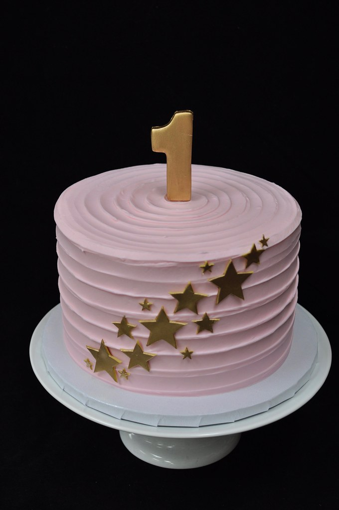 Pink And Gold Star First Birthday Cake Jenny Wenny Flickr